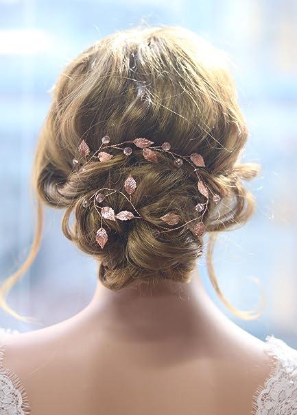Gracewedding - diadema de pelo largo para novia - color oro rosa - estilo  vintage - fc660b143997