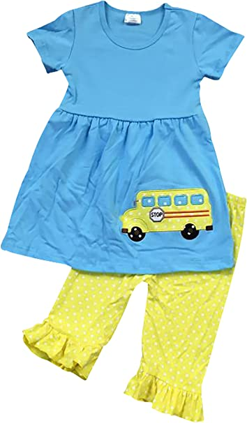 Amazon.com  BNY Corner Toddler   Girl Cute Back to School Bus Tunic Pants  Outfit Set 2T-8  Clothing bc785ffcec