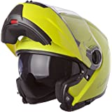 LS2 Helmets Strobe Solid Modular Motorcycle Helmet with Sunshield (Hi-Vis Yellow, Large)