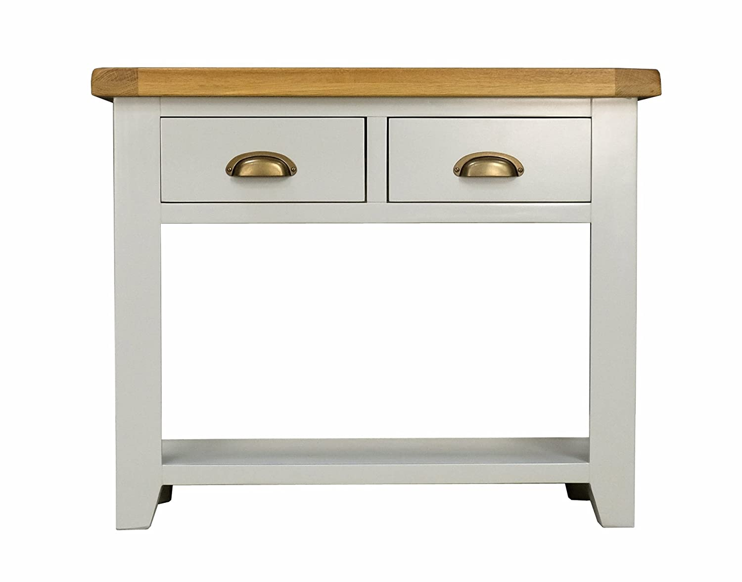 Arklow Painted Oak Dovetail Grey Console Table 2 Drawers & Shelf/Living Room Storage