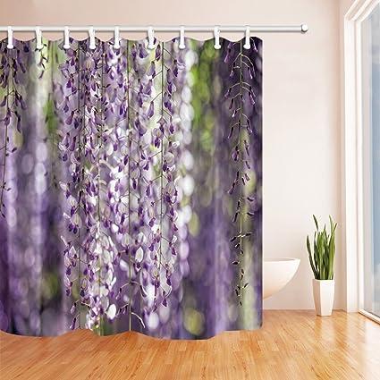 Rrfwq Spring Flower Shower Curtains For Bathroom Wisteria Vine Polyester Fabric Waterproof Bath Curtain