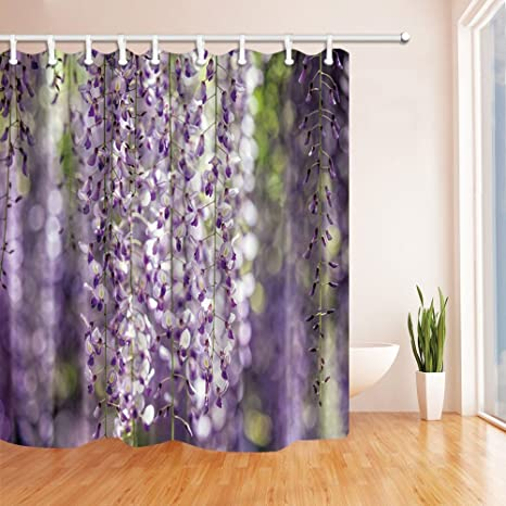 HiSoho Spring Flower Shower Curtains For Bathroom Wisteria Vine Polyester Fabric Waterproof Bath