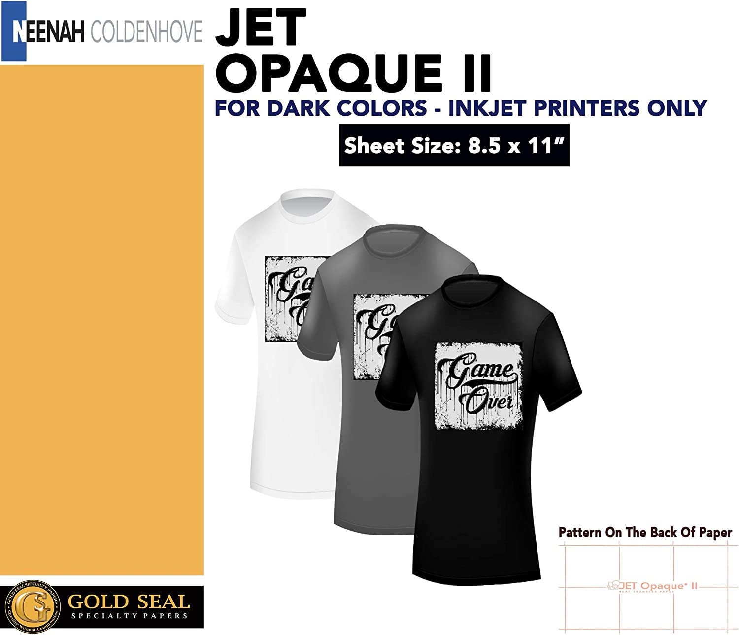"JET-OPAQUE II HEAT TRANSFER PAPER 8.5 X 11"" CUSTOM PACK 50 SHEETS world-paper"