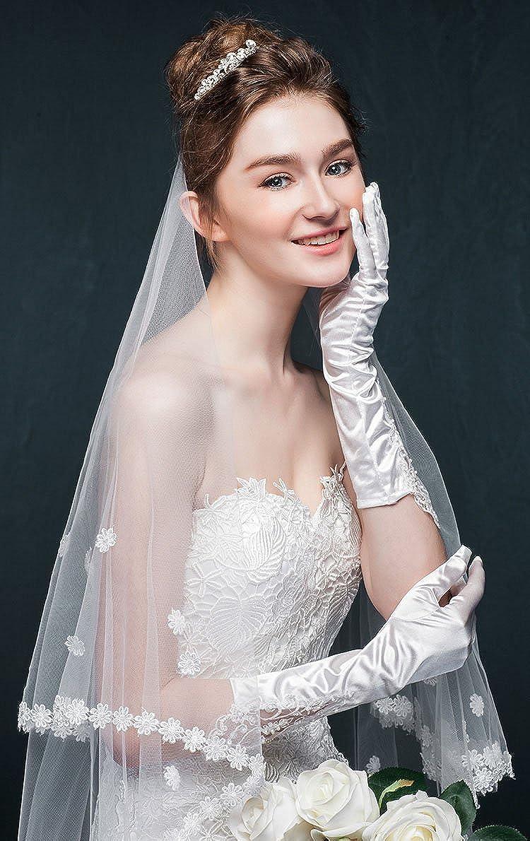 Kelaixiang White Long Bridal Veils with Applique