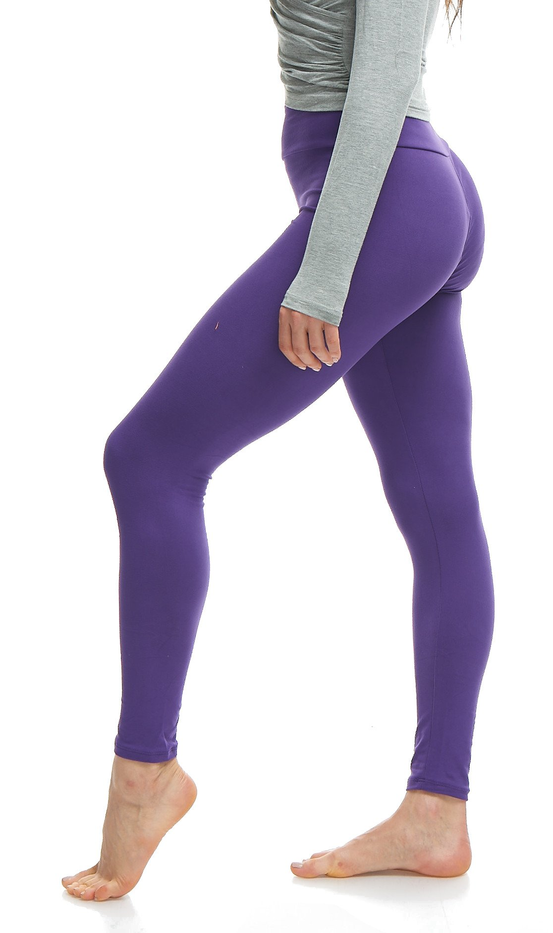 Lush Moda Women's Basic Leggings with Yoga Waist- Extra Soft and Variety of Colors - Purple
