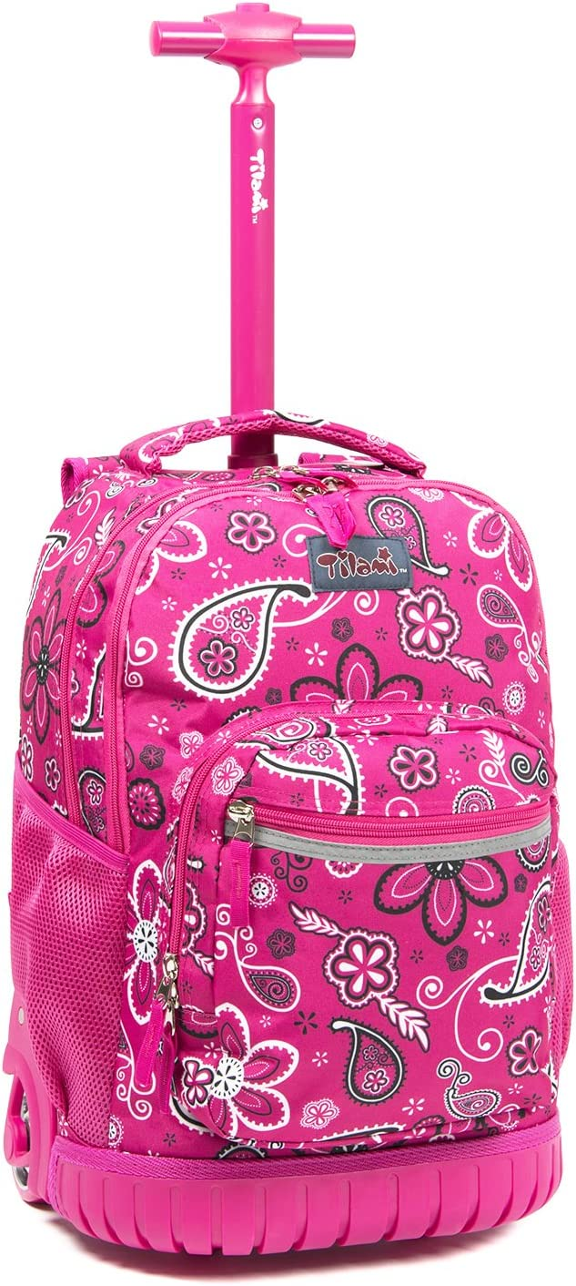 Tilami Kids Rolling Backpack 18 inch Boys and Girls Laptop Backpack, Classic Flower
