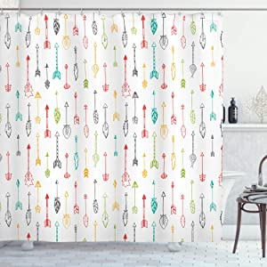 Ambesonne Arrows Shower Curtain, Colorful Hand Drawn Doodle Style Fun Art with Boho Style Arrows Vertical Pattern, Cloth Fabric Bathroom Decor Set with Hooks, 84