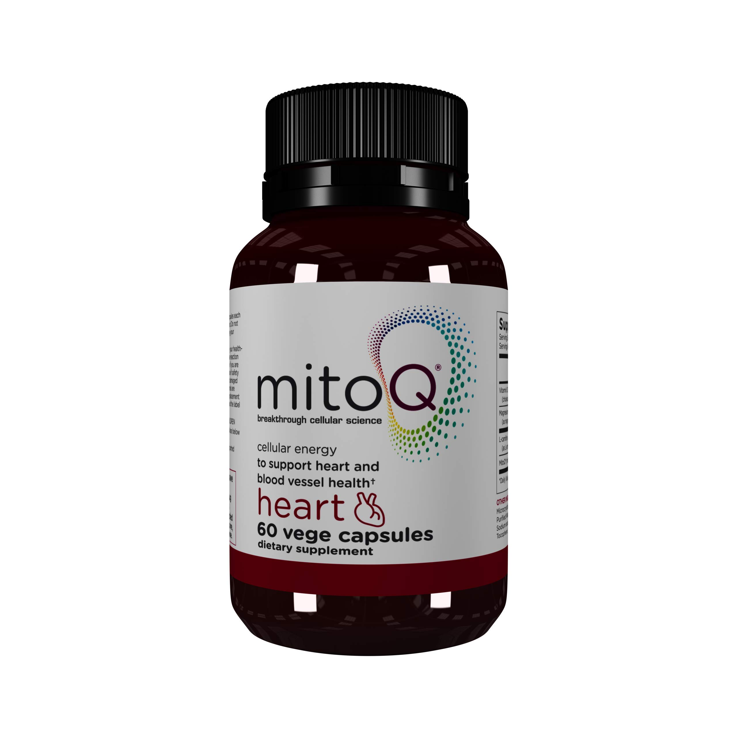 MitoQ Heart Premium CoQ10 Antioxidant - Contains Magnesium, L-Carnitine & Vitamin D3 - Supports Circulatory Health, Healthy Blood Pressure Within Normal Limits and Cellular Health - 60 Capsules