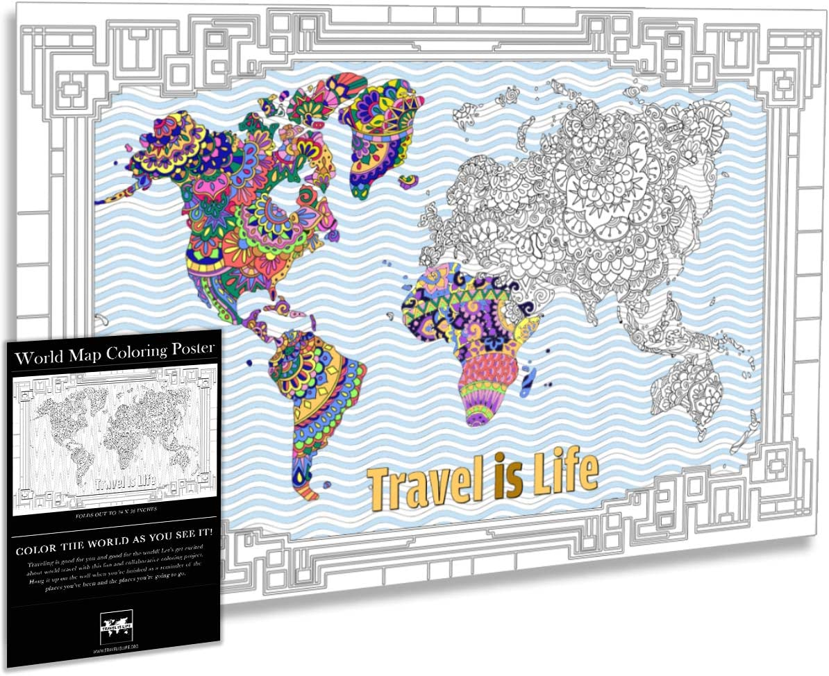 Amazon Com Travel Is Life World Map Coloring Poster X Large Gift Map With Advanced Mandala Designs For Kids Adults 24 X 36 Home Kitchen