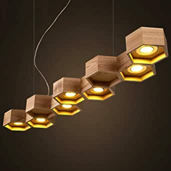 Milano Republic Honeycomb Solid Wood with LED Bulbs Pendant Lamp - BP0687-9N