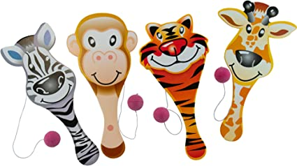 BIRTHDAY CARNIVAL TOY GOODY BAGS 12 MONKEY PADDLE BALLS 9 INCH PARTY FAVOR GAME