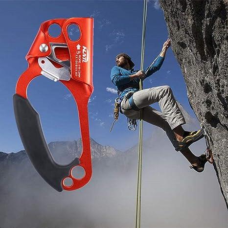 kissloves Ascender de Mano para montañismo, Escalada, para 8-12 mm, Cuerda para Mano Derecha