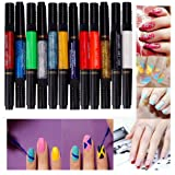 Nails supreme nail art sets 2x10 colours matt and metallic sets lhwy 12 colors two way 3d acrylic nail polish pen dotting brush pure solid glitter prinsesfo Image collections