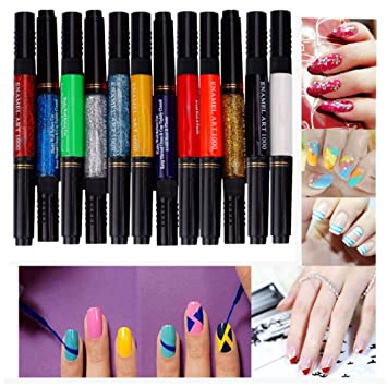 LHWY 12 Colors Two Way 3D Acrylic Nail Polish Pen Dotting Brush Pure Solid Glitter