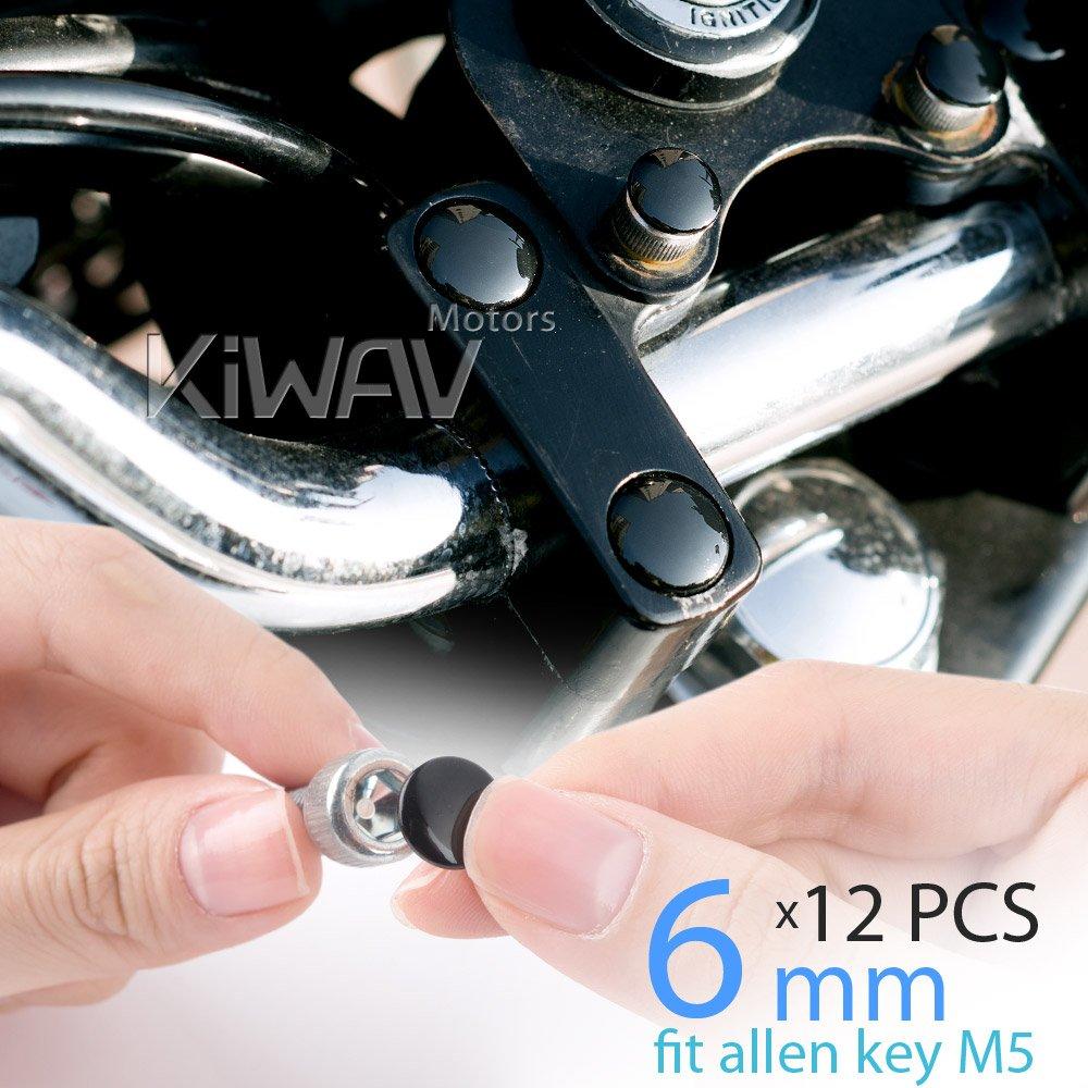 KiWAV motorcycle round bolt cap screw cover plug black for 6mm thread allen head bolts ie M5 allen key
