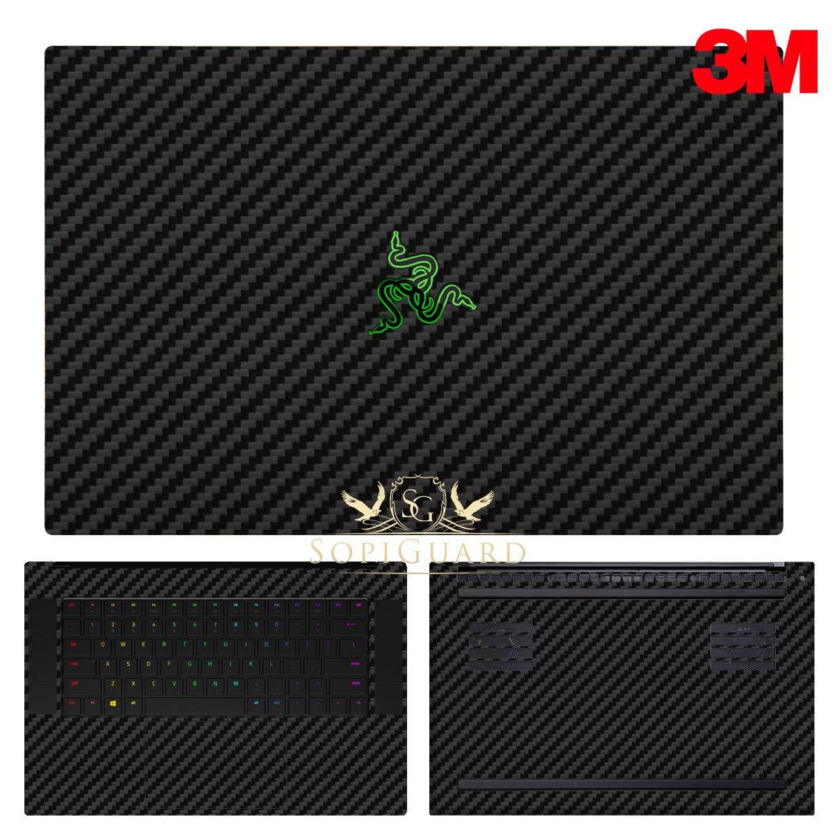 SopiGuard 3M Black Carbon Full Body Precision Edge-to-Edge Coverage Vinyl Sticker Skin for 2018 Razer Blade 15.6 inch (Base Model)