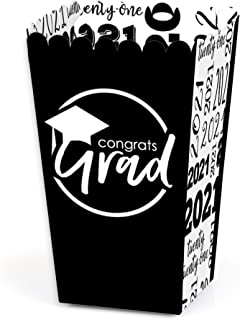 product image for Big Dot of Happiness Black and White Grad - Best is Yet to Come - Black and White 2021 Graduation Party Favor Popcorn Treat Boxes - Set of 12