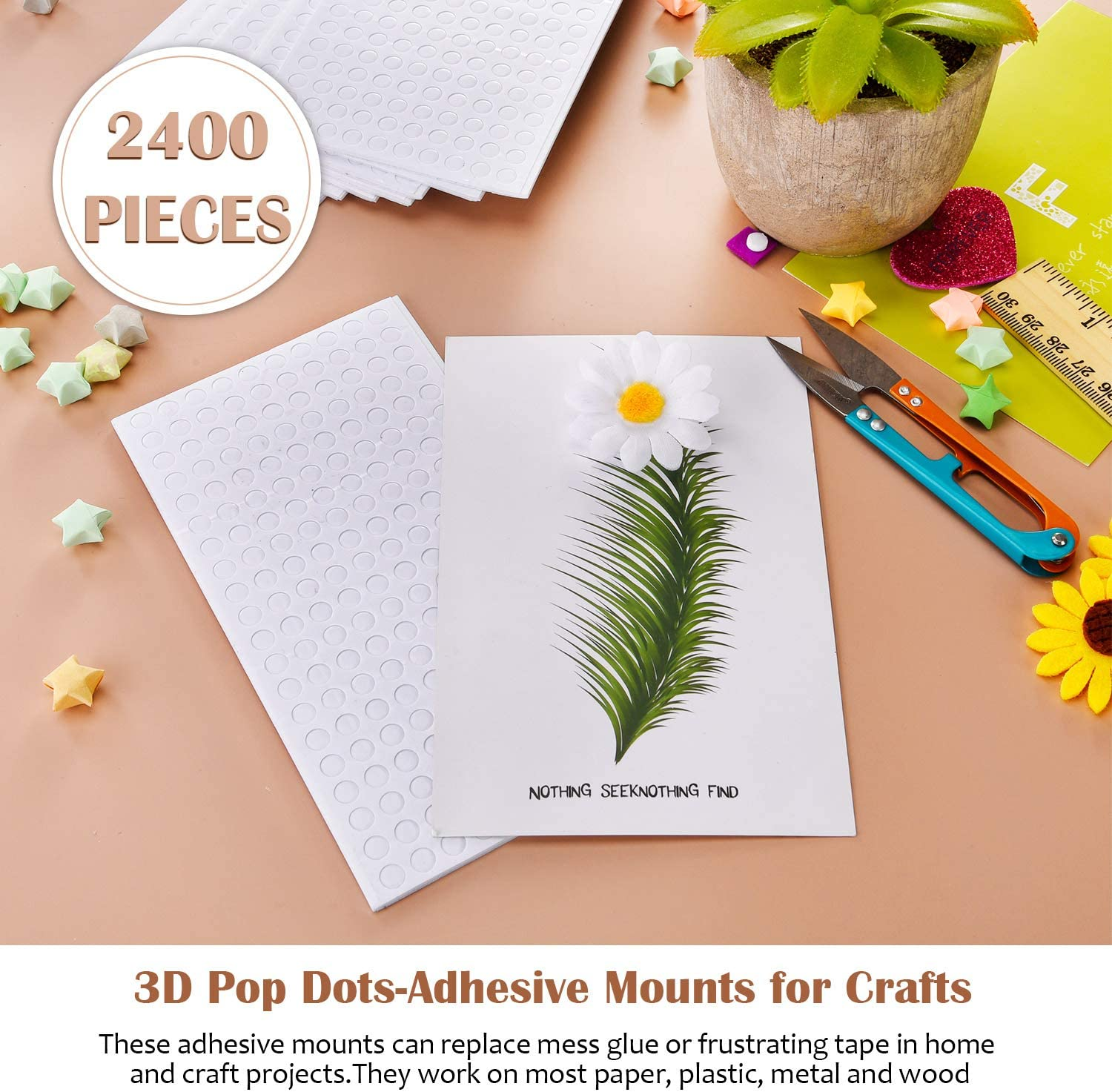 2400 Pieces Foam Dots Dual-Adhesive 3D Foam Tapes Foam Pop Dots Adhesive Mount for Craft DIY Art or Office Supplies Round 12 Sheets 0.4 Inch