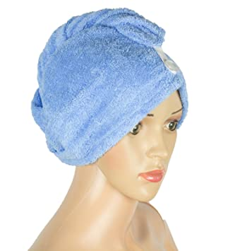 Hair Towel Wrap Gray 100/% Cotton Super Absorbent Twist With Non Slip Loop