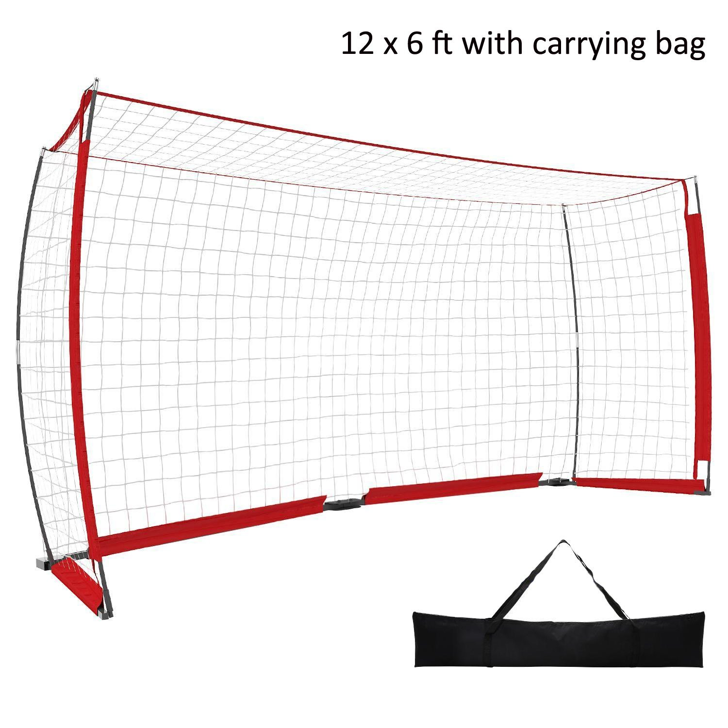 benletポータブルSoccer Football Goal Net with Bowフレームクイックセットアップ( Available in 12 x 6 ft、6 x 4 ft ) [米国ストック] B07BT4HX8Q 12 x 6 ft -Red 12 x 6 ft -Red