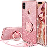 OCYCLONE iPhone X Case, iPhone Xs Case for Girl Women, Cute Glitter Bling Girly Diamond Rhinestone Bumper with Ring Kickstand Stand Protective Phone Case for iPhone X/iPhone Xs - Pink/Rose Gold