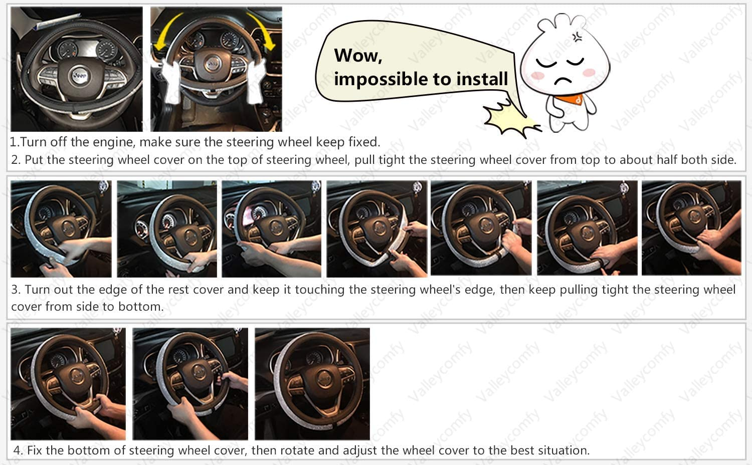 Valleycomfy Steering Wheel Cover with Microfiber Leather for Car Truck SUV 15 inch no Odour Black