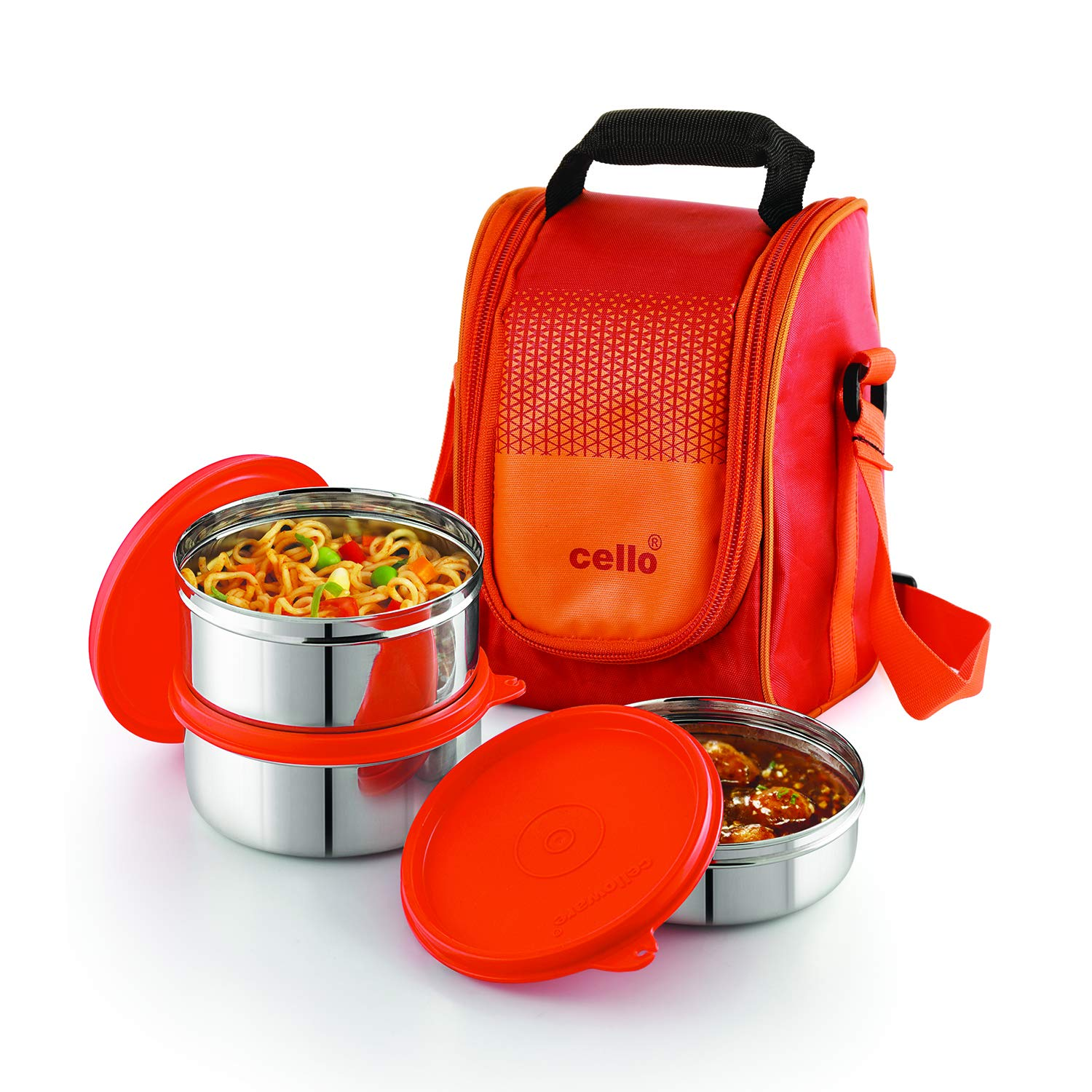 Cello Max Fresh Fresh Matiz Lunch Box, 3 Pc, Orange