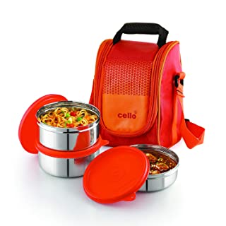 Cello Max Fresh Fresh Matiz Lunch Box Set of 3, 375ml, Orange