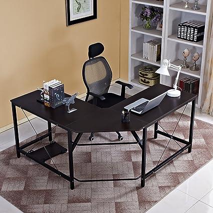 Beau Soges 59u0026quot; X 59u0026quot; L Shaped Computer Desk Large Corner Desk L Desk