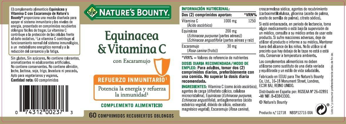 Natures Bounty Equinácea & Vitamina C con Escaramujo - 60 ...