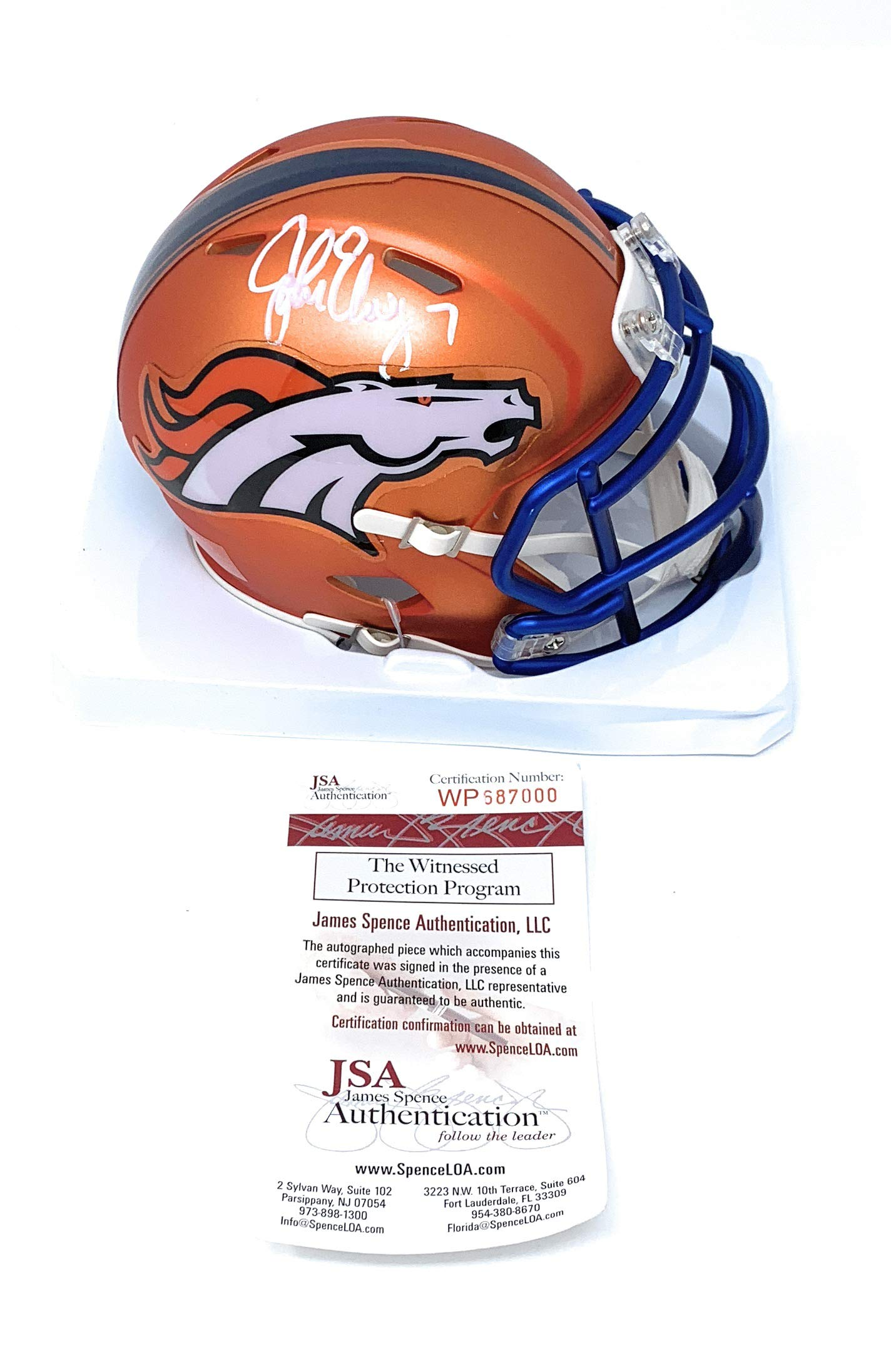 John Elway Denver Broncos Signed Autograph BLAZE Speed Mini Helmet White Ink Elway Player Hologram JSA Certified Certified