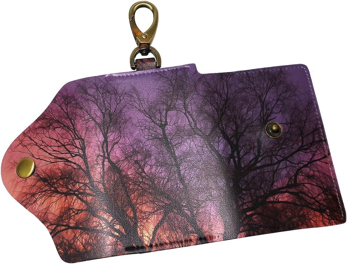DEYYA Art Tree Leather Key Case Wallets Unisex Keychain Key Holder with 6 Hooks Snap Closure