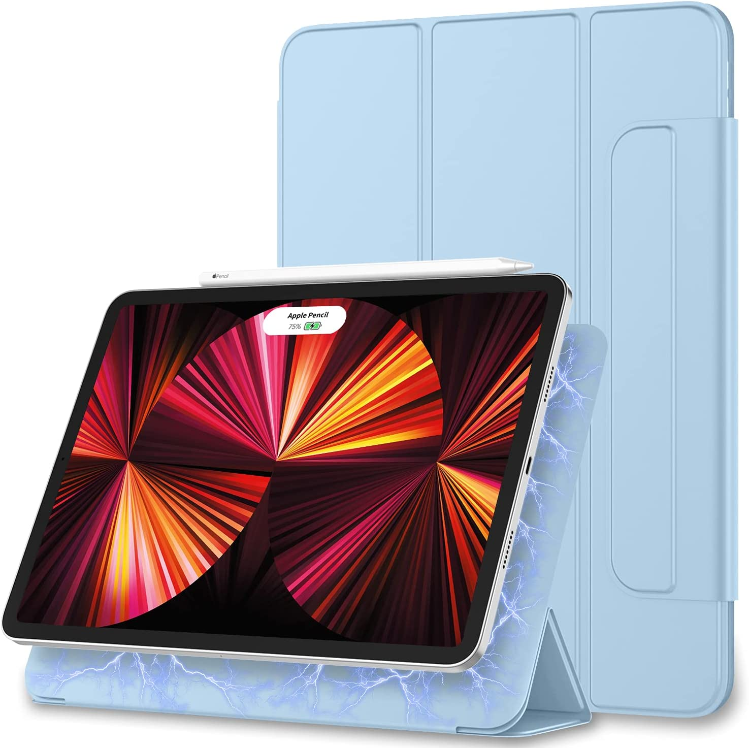 ZryXal iPad Pro 11 Inch Case 2021(3rd Generation), Rebound Magnetic Smart Case Cover with Convenient Magnetic Attachment and Auto Sleep/Wake Feature for 2021/2020 iPad Pro 11 (Sky Blue)