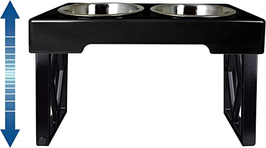 """Pet Zone Designer Diner ADJUSTABLE Elevated Dog Bowls - Adjusts To 3 Heights, 2.75"""", 8"""", & 12'' (Raised Dog Dish with Double Stainless Steel Bowls)"""