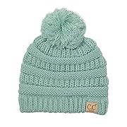 H-6847-54 Girls Winter Hat Warm Knit Slouchy Toddler Kids Pom Beanie - Mint
