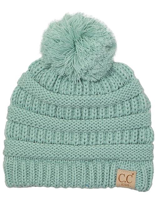 a1fdcb2f6f9 H-6847-54 Girls Winter Hat Warm Knit Slouchy Toddler Kids Pom Beanie - Mint   Amazon.in  Beauty