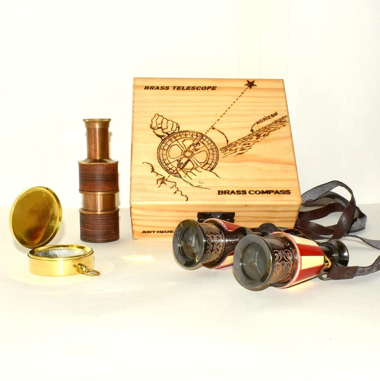 eve. StoreヴィンテージNautical Spyglass双眼レッド母のパールオーバーレイ真鍮Decor。。。bvcf54 B07D1LFZ7R