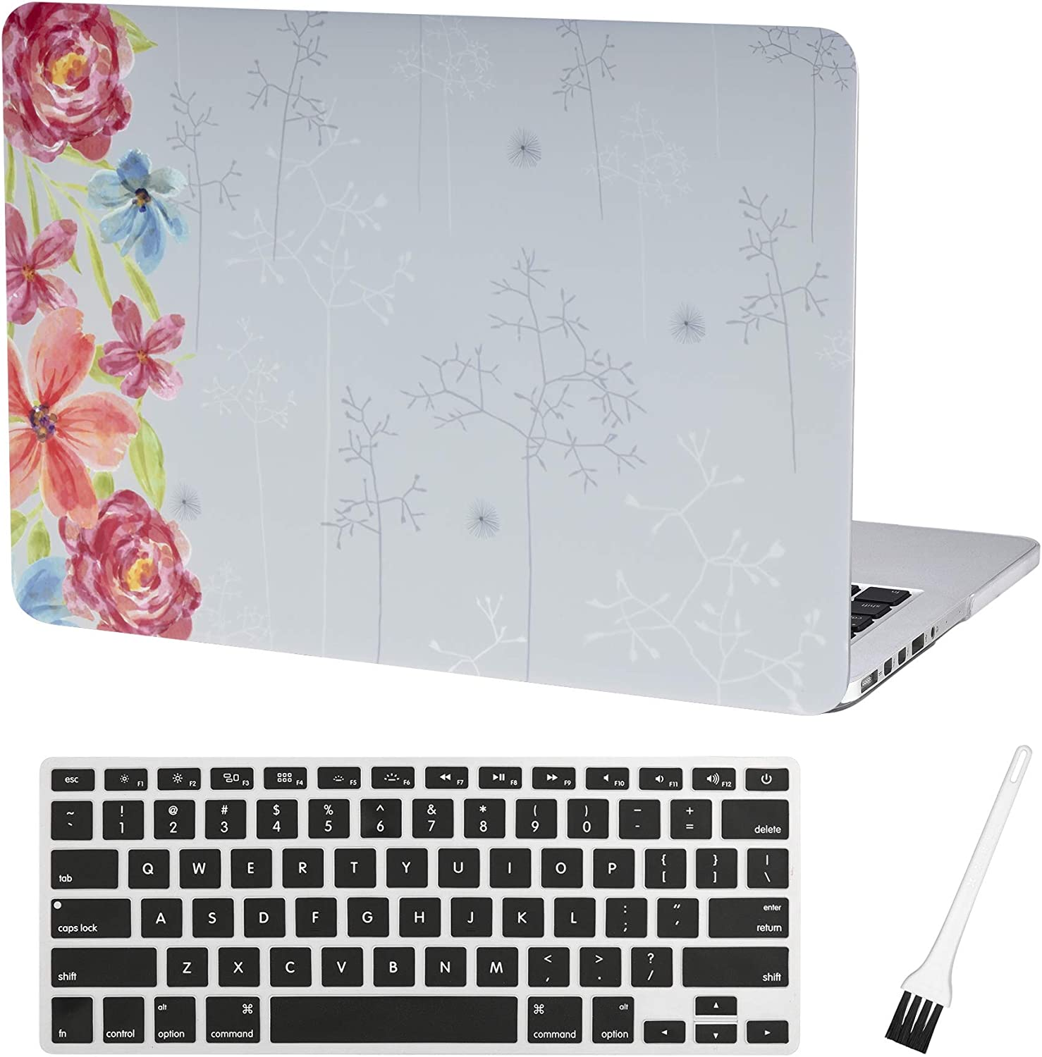 MacBook Pro 13 inch Case Cover A1502 A1425 Plastic Laptop Hard Shell Cover Sleeve Matte Rubberized (2012 2013 2014 2015 Release) with Silicone Keyboad Cover and Dust Brush (Rose Pattern)