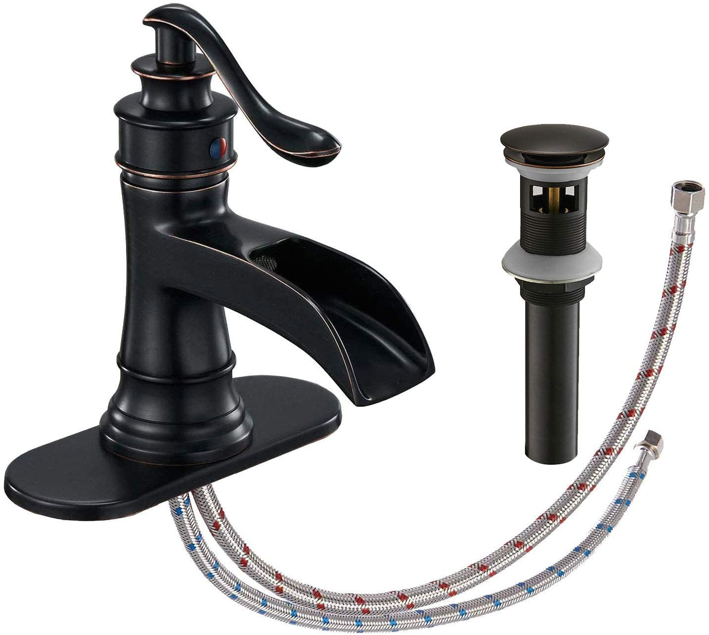 Waterfall Bathroom Faucet Oil Rubbed Bronze Sink With Pop Up Drain Stopper Faucets Single Hole Rustic Vanity Farmhouse Overflow One Handle Bath Black Commercial Assembly Lead Free By Homevacious Amazon Com