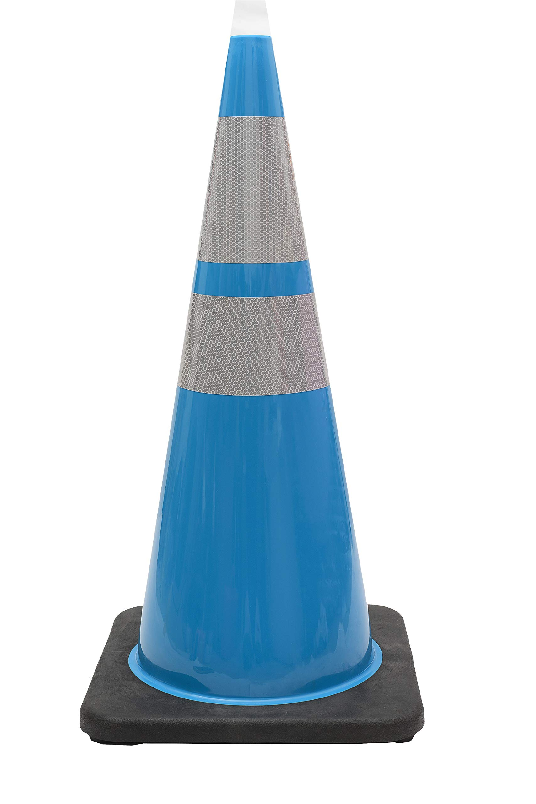 CJ Safety 28'' Blue PVC Traffic Safety Cones with Heavy Duty Black Base & 6'' + 4'' Reflective Collars (8 Cones)