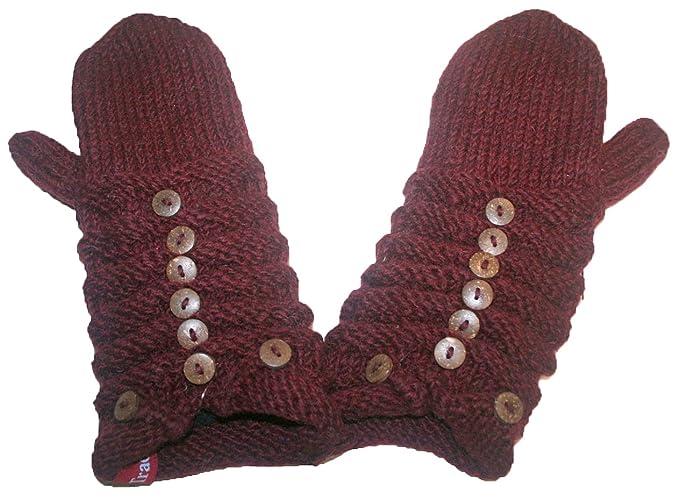 3b67405ae29 1414 MT Agan Traders Hand Knit Wool Fleece Kumari MITTEN (Burgundy ...