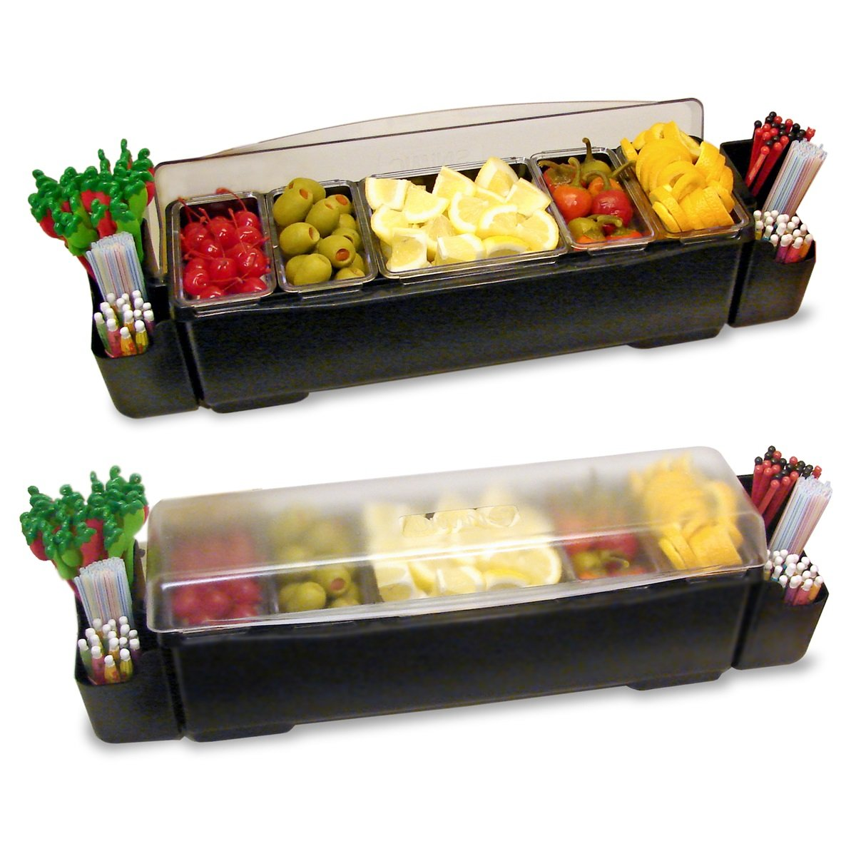 Co-Rect Roll Top Condiment Holder and Garnish Station, Black
