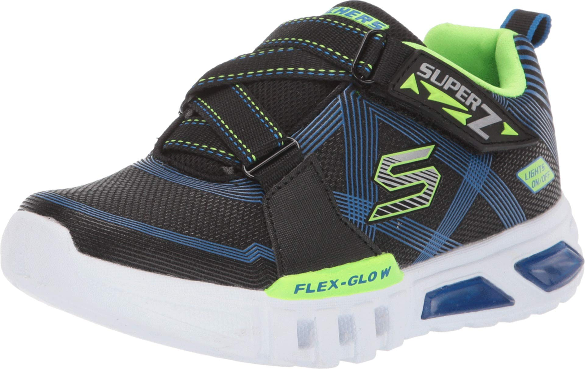 Skechers Kids Boy's Flex-Glow Parrox 90543L Lights (Little Kid/Big Kid) Blue/Black/Lime 13 M US Little Kid