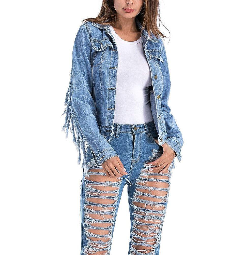 Mujere Boyfriend Chaquetas de Mezclilla Manga Larga Cazadoras Vaquera Abrigo Denim Jacket con Flecos