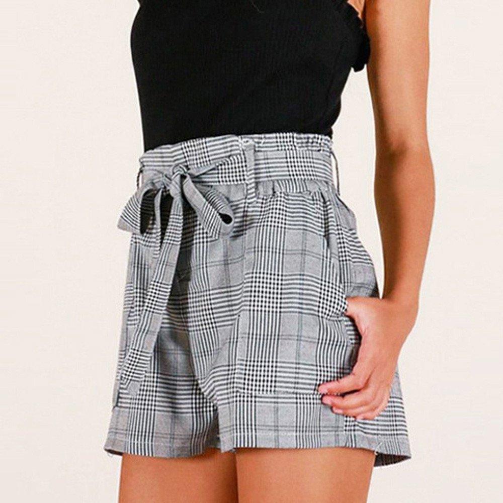 JOYFEEL ❤️ Ladies Summer Stripe Casual Wide Leg Hot Pants Elastic Bandage Loose Beach Shorts Women Plaid Shorts