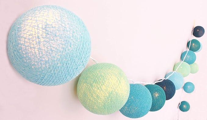 Creative Cotton - Guirnalda luminosa con 35 bolas de algodón con modo temporizador y modo de luz nocturna: Amazon.es: Iluminación