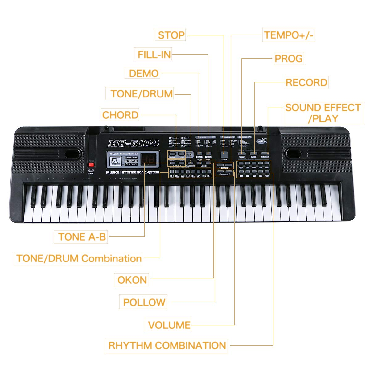 Digital Music Piano Keyboard 61 Key - Portable Electronic Musical Instrument with Microphone Kids Piano Musical Teaching Keyboard Toy For Birthday Christmas Festival Gift by Tencoz (Image #4)