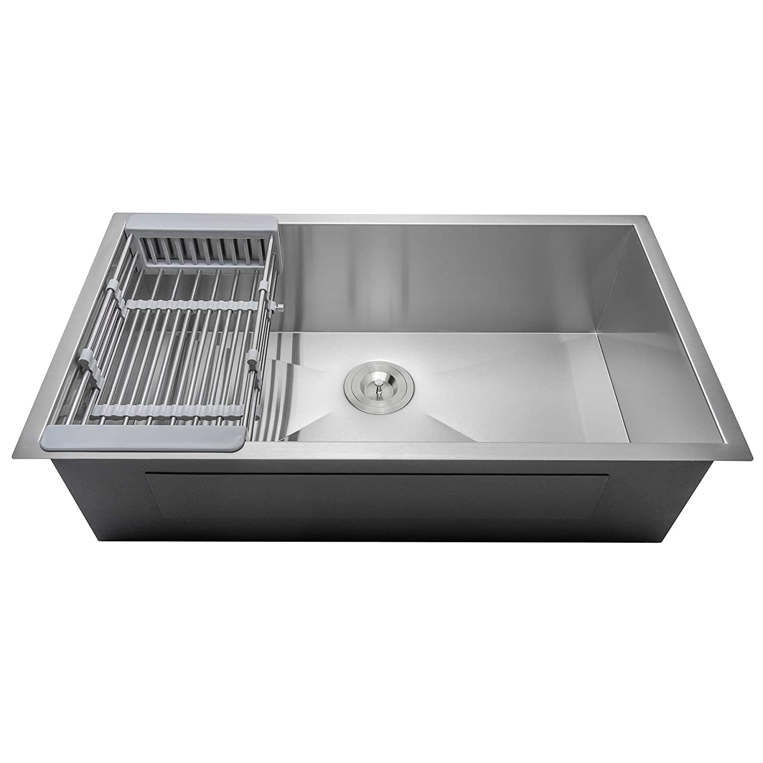 FB Handmade Kitchen Sink 33-inch Undermount Single Bowl Stainless Steel 33 x 22 x 9 with Dish Tray Drain Kit