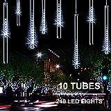 Joomer 11.8 pulgadas 10 tubos 240 luces LED de lluvia de meteoros con función de temporizador Luces en cascada Luces LED…