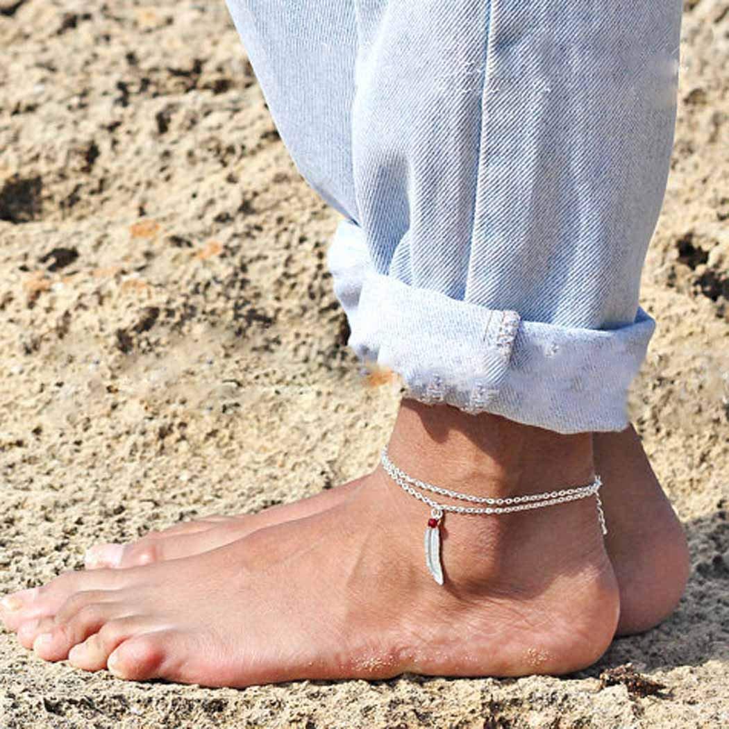 Jovano Boho Beach Sommer Fu/ßkettchen mit Feder Anh/änger Foot Jewelry f/ür Frauen und M/ädchen